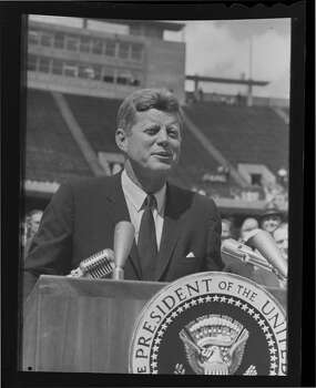 09/12/1962 - President John F. Kennedy in Houston to huddle with NASA's leadership and address a national audience from Rice Stadium to bolster his fledgling Cold War initiative to land American astronauts on the moon. Photo: Houston Chronicle / Houston Chronicle