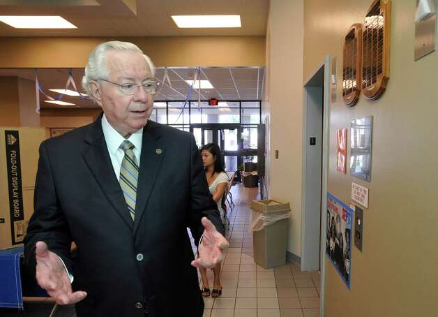 Lamar State College-Port Arthur president Sam Monroe was recently honored by Gov. Rick Perry for his longstanding position as the head of the two-year Lamar institution.   He has been with the college since starting in 1965 in the radio station.  Here he is waiting for an elevator to go to the fourth floor.  Dave Ryan/The Enterprise Photo: Dave Ryan