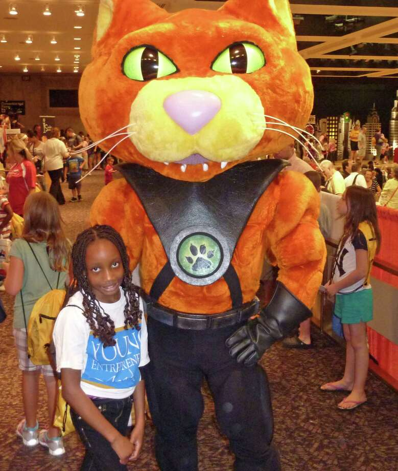 Naomi Kayemba poses with Catseye. Were you Seen at the Back to School Expo at Empire State Plaza on Saturday, Sept. 8, 2012? Photo: Anne-Marie Sheehan