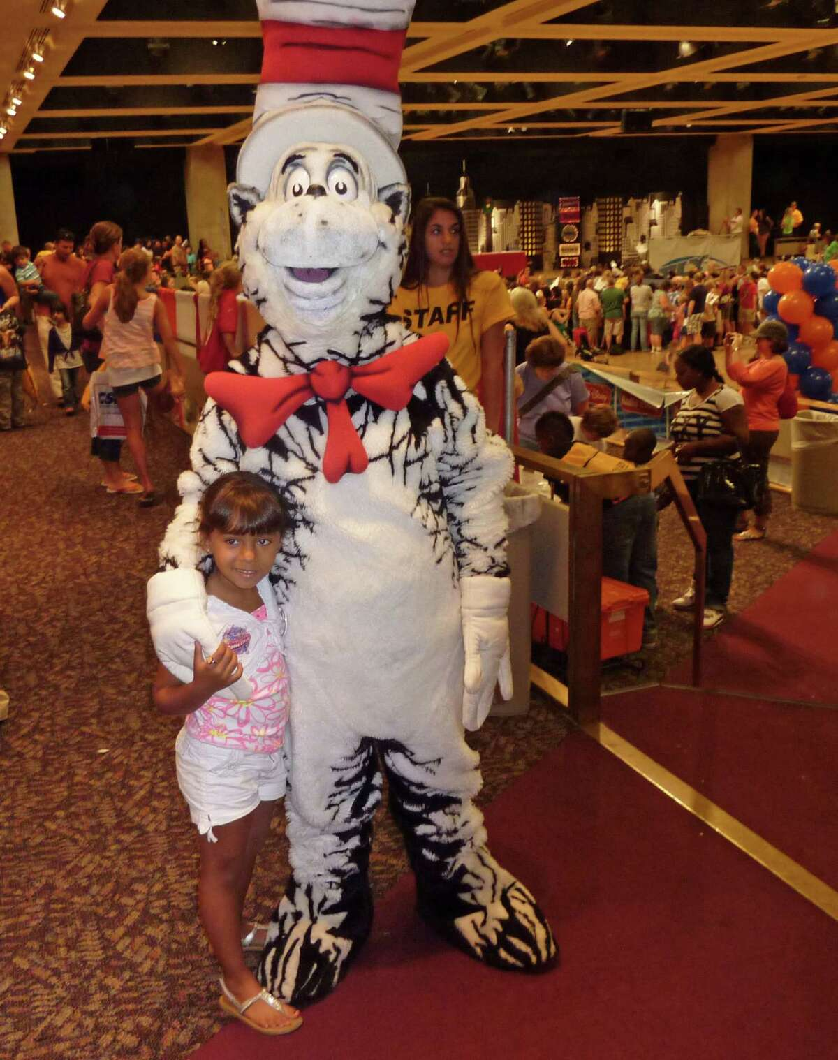 Kayee Hudson poses with the Cat in the Hat. 2012 Back to School Expo at the Empire State Plaza. Photo by Geoffrey Flynn.