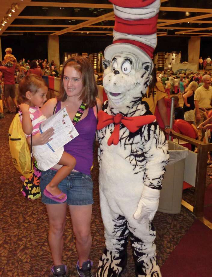 Taking time out to pose with the Cat in the Hat. 2012 Back to School Expo at the Empire State Plaza. Photo by Geoffrey Flynn. Photo: Anne-Marie Sheehan