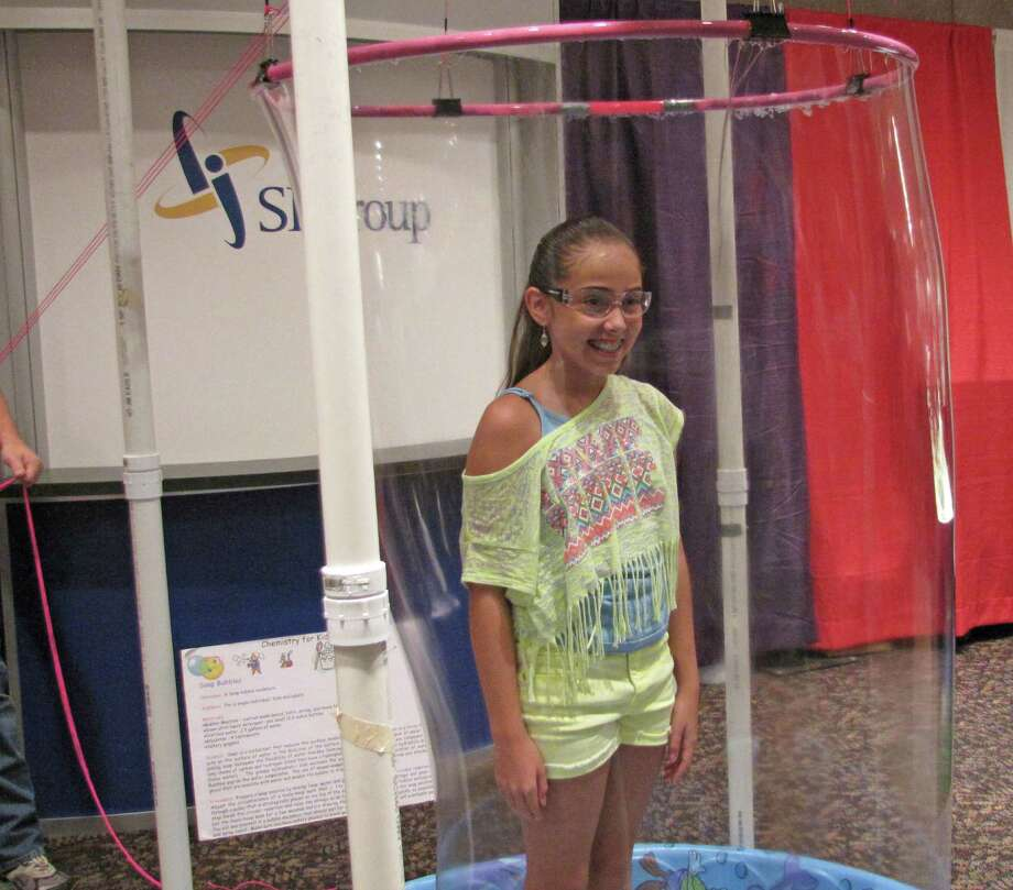 Testing out the soap bubble machine. Were you Seen at the Back to School Expo at Empire State Plaza on Saturday, Sept. 8, 2012?  Photo: Anne-Marie Sheehan