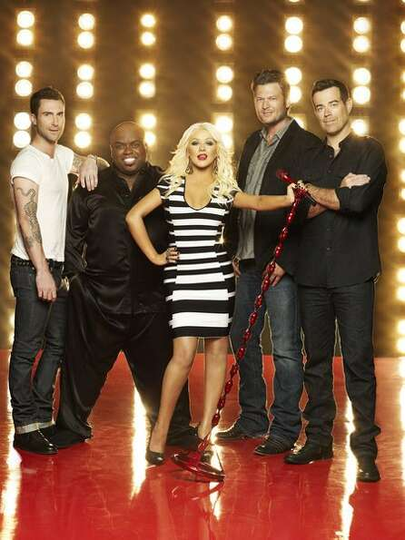 THE VOICE -- Season: 3 -- Pictured: (l-r) Adam Levine, CeeLo Green, Christina Aguilera, Blake Shelto