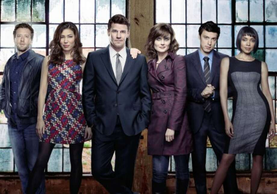 "Michaela Conlin, second from left, plays a bisexual character, Angela Montenegro, on ""Bones."" (FOX)"