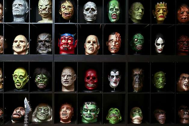 Part of Kirk Lee Hammett's horror film collection is seen in his San Francisco home. Photo: Russell Yip, The Chronicle