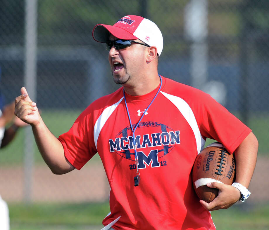Brien McMahon High School Head Football Coach A.J. Albano during the high School football jamboree at Wilton High School, Saturday morning, Sept. 1, 2012. Photo: Bob Luckey / Greenwich Time
