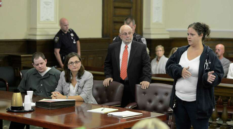 Debbie Chaplin, right gives a statement during her brother Scott Chaplin's sentencing for murder Monday in Rensselaer County Court.  (Skip Dickstein / Times Union) Photo: Skip Dickstein / 00019191A
