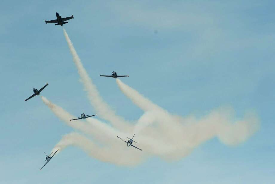 """The Czech International Air Fest took place last weekend at the Hradec Kralove  airbase,  near Hradec Kralove city, Czech Republic. Here, the French  """"Breitling'' aviatic group performs on Sunday, September 9. Photo: MICHAL CIZEK, AFP/Getty Images / 2012 AFP"""