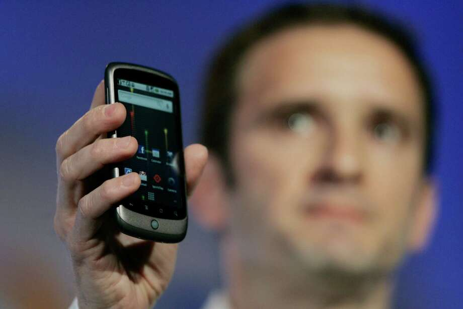 Mario Queiroz, Vice President of Product Management for Google, unveils the company's first phone, the Nexus One, on January 5, 2010 at Google headquarters in Mountain View, Calif. Photo: ROBERT GALBRAITH, AFP/Getty Images / 2010 AFP