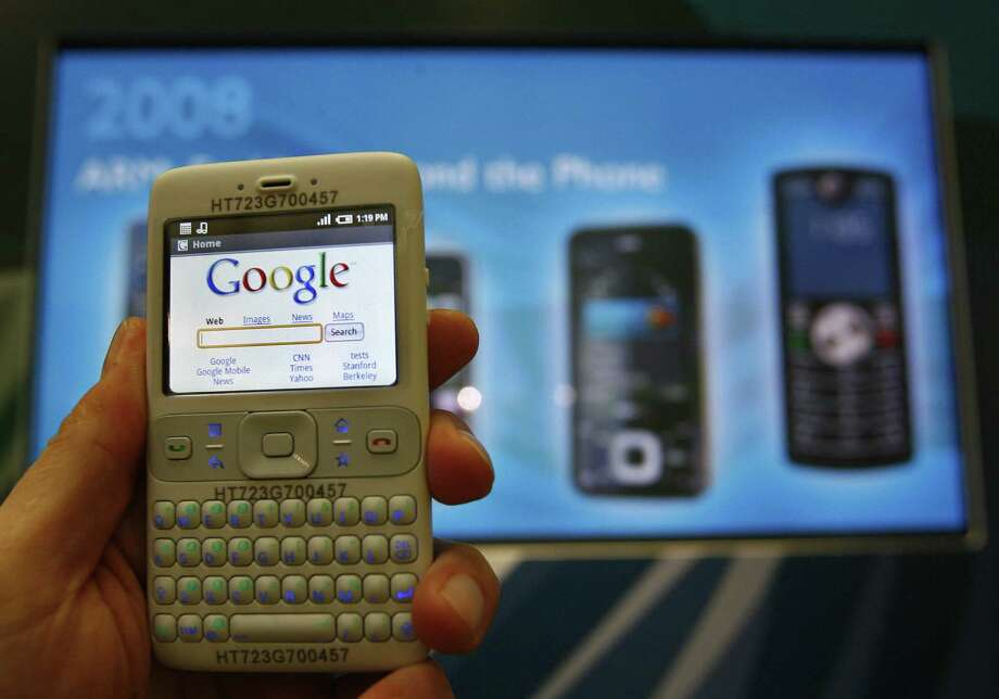 After the 2007 launch of the iPhone, everyone else was playing catch up, including Google, with its Android platform. Here's a demonstration of Android at the Mobile World Congress in Barcelona on Feb. 11, 2008. Photo: LLUIS GENE, AFP/Getty Images / 2008 AFP