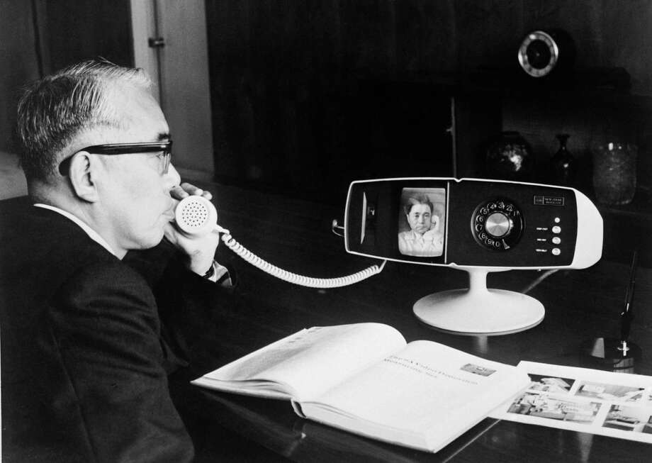 This phone isn't mobile, but we couldn't resist including it. It's a Toshiba Model 500 View Phone, being tested at the company's Tokyo headquarters on May 6, 1968. Photo: Keystone, Getty Images / 2004 Getty Images