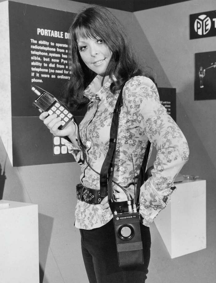 The true ancestors to today's mobile phones came in the 1970s. This is a Pye Telecommunications radio telephone being demonstrated at the exhibition 'Communications Today, Tomorrow and the Future,' on April 11, 1972 at the Royal Lancaster Hotel, in London. Photo: Stacey, Getty Images / Hulton Archive