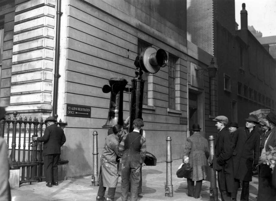 OK, this isn't a real telephone, but it is mobile. This shot shows workers moving a giant model telephone for the Ideal Home Exhibition on Feb. 25, 1928 in London. Photo: E. Bacon, Getty Images / Hulton Archive