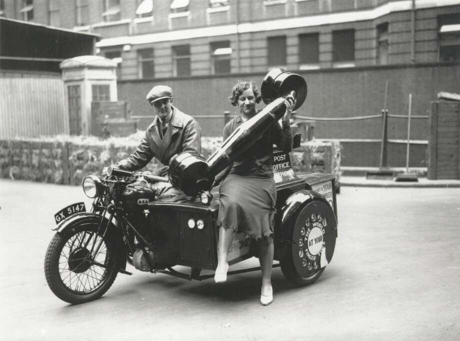 Similarly, here's a motorcycle fitted out to look like a giant telephone on June 20, 1932 in London. It was a stunt by the U.K. General Post Office to tout the importance of phones. The dial on the wheel bears the slogan, 'The World at Your Finger Tips.' Photo: Topical Press Agency, Getty Images / Hulton Archive