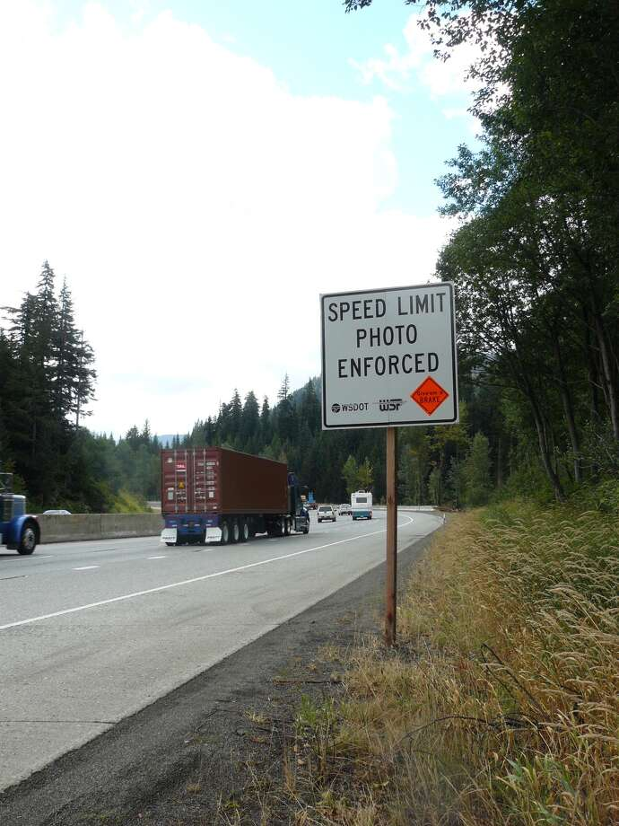 This sign warns drivers that the state Transportation Department will have a speed-enforcement  camera in a constuction zone on Interstate 90 near Snoqualmie Pass. Photo: Courtesy Of The Washington State Department Of Transportation