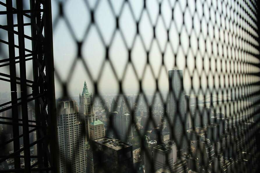 Part of Manhattan is viewed from the 72nd floor of Four World Trade Center on September 7, 2012 in N