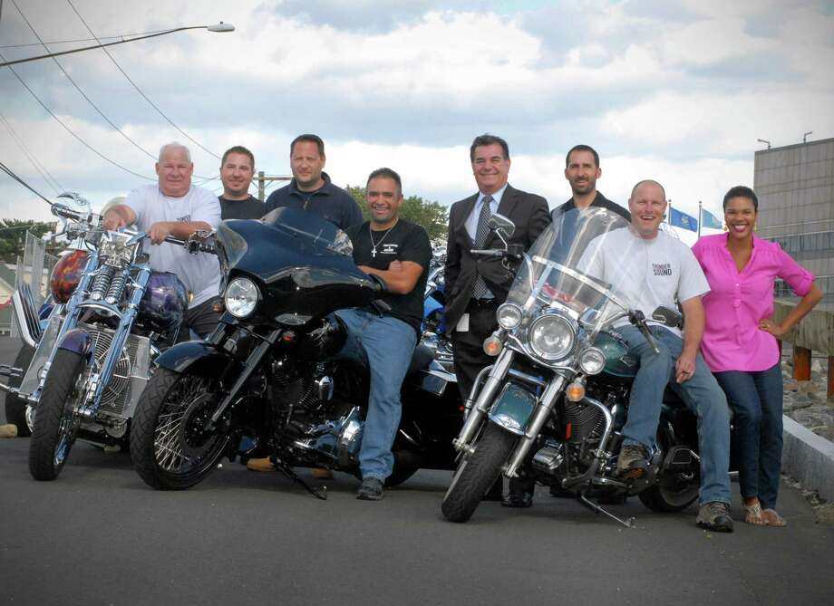 The fourth annual Thunder on the Sound Motorcycle Ride & BBQ takes place on Sept. 23, the proceeds which will go towards the Brian Bill Memorial Fund. Bruce Vetti, Kevin Vetti, Chris Vento, Mike DiPreta, Mayor Michael Pavia, Tony Vetti, Pat Sasser and Lauren Clayton pose at the Ponus Ridge Yacht Club in Stamford, Conn. on Monday September 10, 2012. Photo: Dru Nadler / Stamford Advocate Freelance