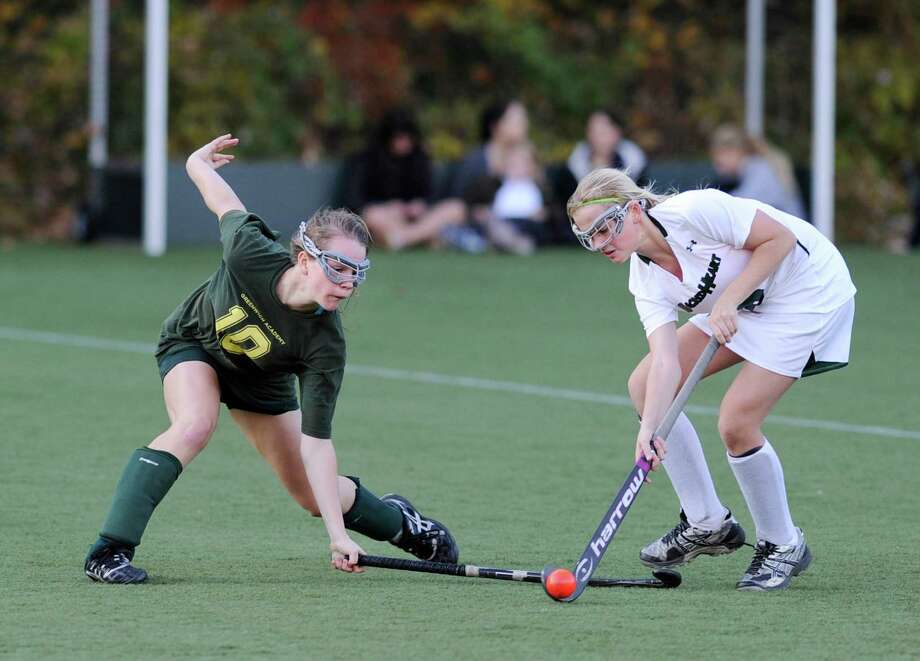 Greenwich Academy's Emilia Tapsall, left, is back to lead the Gators aginst rival Convent of the Sacred Heart.. Photo: Bob Luckey, Greenwich Time / Greenwich Time