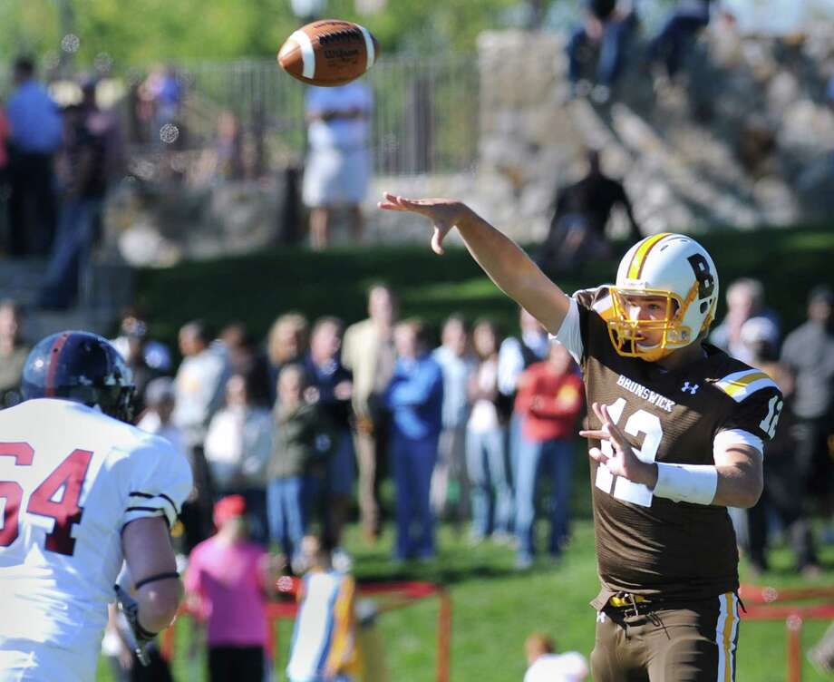 Brunswick School quarterback Todd Stafford needs to have a big year if the Bruins are going to be successful, says head coach Jarrett Shine. Photo: Bob Luckey, ST / Greenwich Time
