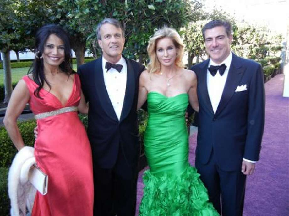 Mai Shiver (left, in Naeem Khan), Charles Githler, Paula Carano (in Monique Lhuillier)and her husband, Bandel Carano (Catherine Bigelow)