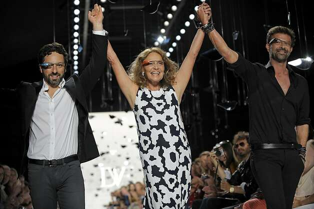 Google co-founder Sergey Brin and designer Diane von Furstenberg in Project Glass visors at von Furstenberg's show last week. Photo: Peter Foley, Bloomberg