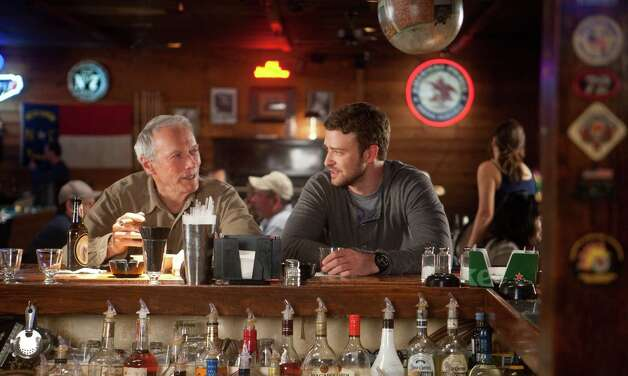 "This film image released by Warner Bros. Pictures shows Clint Eastwood, left, and Justin Timberlake in a scene from ""Trouble with the Curve."" The film, about an aging and ailing baseball scout, will be released on Sept. 21. (AP Photo/Warner Bros. Pictures, Keith Bernstein) Photo: Keith Bernstein, HOEP / Warner Bros. Pictures"