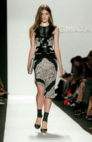 The BCBGMaxAzria collection incorporates black, and some pieces feature leather embellishment. Photo: Richard Drew, STF / AP