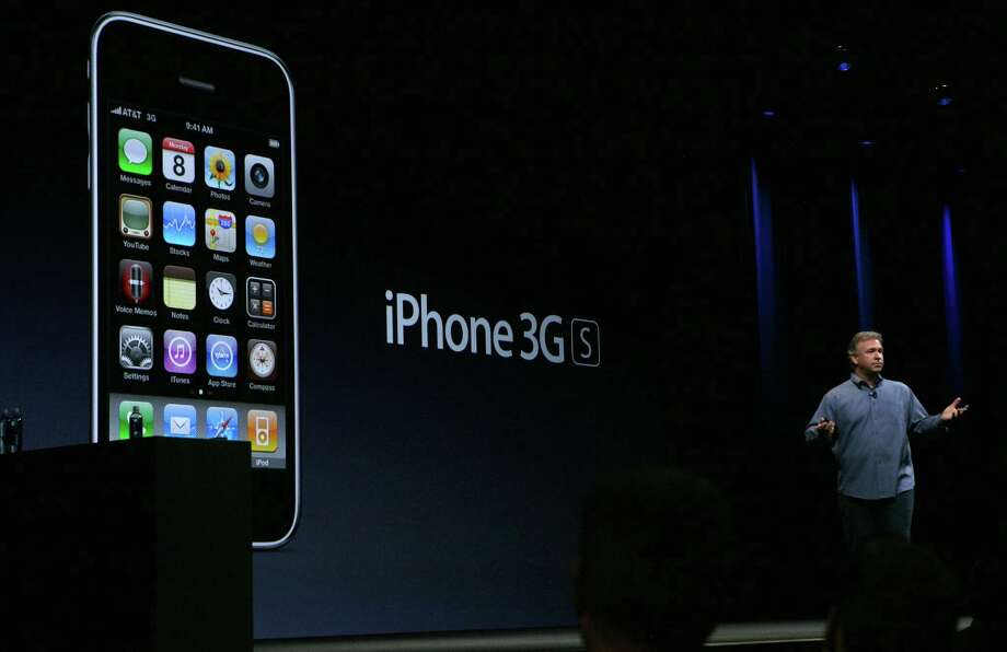 Apple Senior Vice President of Worldwide Marketing Phil Schiller announced the iPhone 3Gs during his keynote at the Apple World Wide Developers conference June 8, 2009 in San Francisco. Photo: Justin Sullivan, Getty Images / 2009 Getty Images