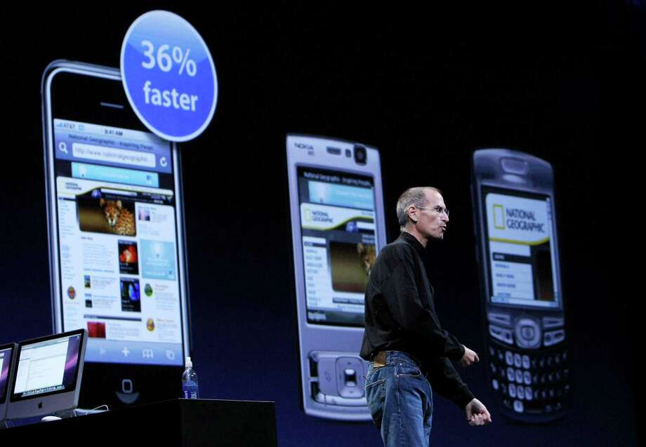 Apple CEO Steve Jobs struck again on June 9, 2008, unveiling the iPhone 3G at the Apple Worldwide Web Developers Conference in San Francisco. Photo: Justin Sullivan, Getty Images / 2008 Getty Images
