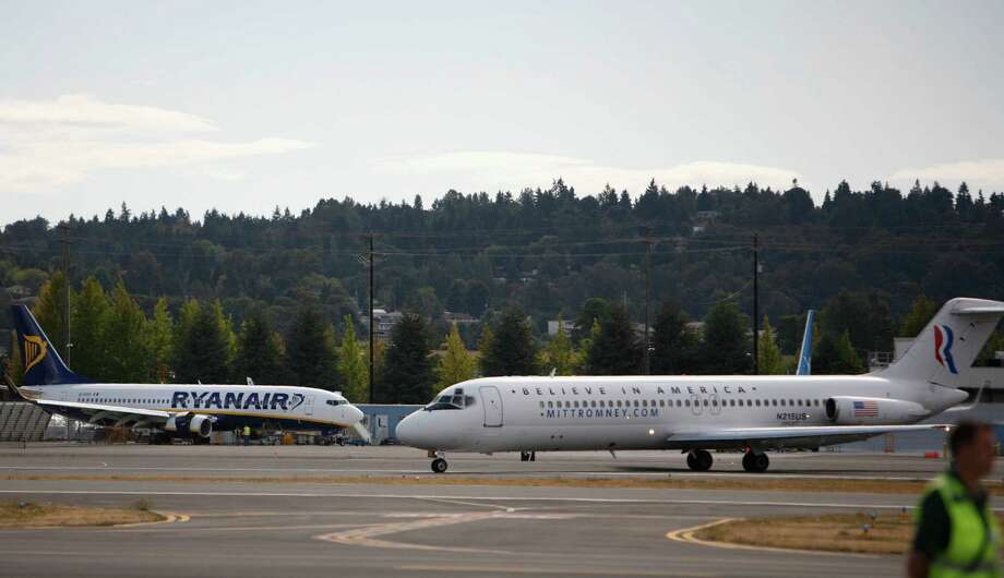 A plane carrying Paul Ryan, Republican nominee for vice president, taxis at Boeing Field during a visit to the Seattle area on Monday, September 10, 2012. Ryan is running with Mitt Romney and stopped in the area for a fundraiser. Photo: JOSHUA TRUJILLO / SEATTLEPI.COM