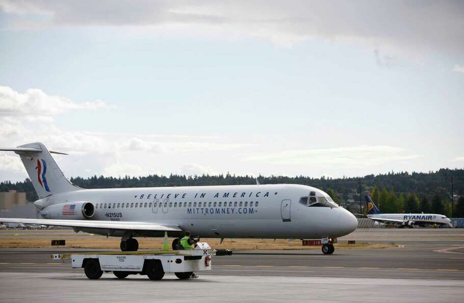 A plane carrying Paul Ryan, Republican nominee for vice president, taxis at Boeing Field during a vi