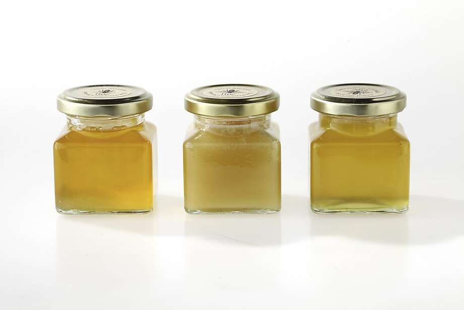 Three vintages of Chronicle honey: summer 2011, fall 2011 and summer 2012. Photo: Craig Lee, Special To The Chronicle