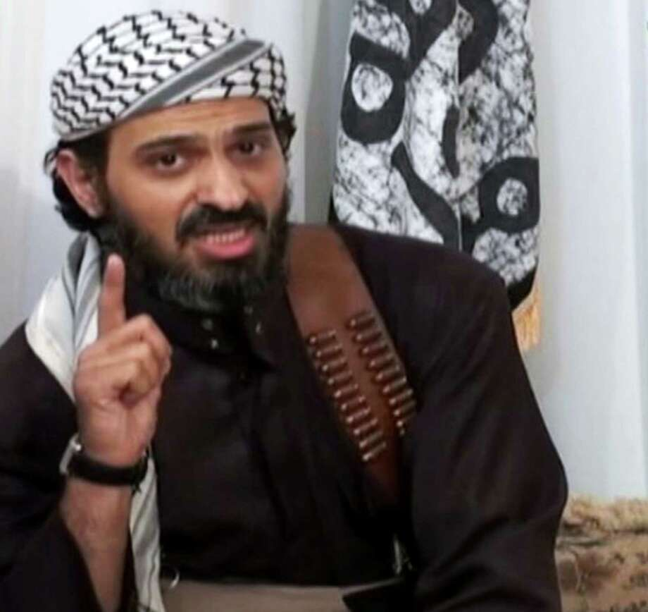FILE - In this undated frame grab from video posted on a militant-leaning Web site, and provided by the SITE Intelligence Group, shows Saeed al-Shihri, deputy leader of al-Qaida in the Arabian Peninsula. Yemeni officials say a missile believed to have been fired by a U.S. operated drone on Monday has killed al-Qaida?s No. 2 leader in Yemen along with five others traveling with him in one car. Al-Qaida?s Yemen branch is seen as the world?s most active, planning and carrying out attacks against targets in and outside U.S. territory. (AP Photo/SITE Intelligence Group, File)  NO SALES. THE ASSOCIATED PRESS HAS NO WAY OF INDEPENDENTLY VERIFYING THE CONTENT, LOCATION OR DATE OF THIS VIDEO IMAGE Photo: Uncredited / SITE Intelligence Group