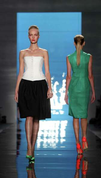 The Reem Acra Spring 2013 collection is modeled.