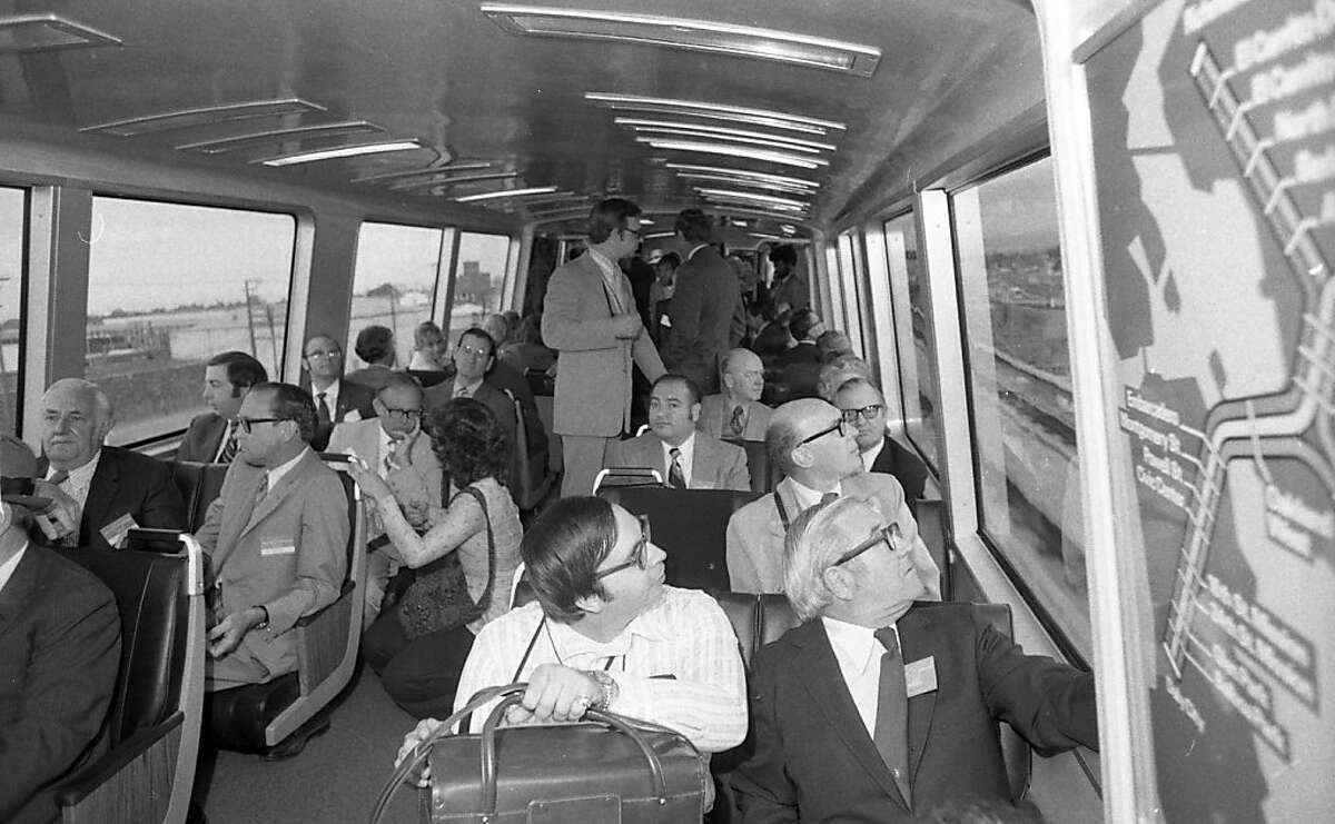 Patrons ride the first BART train in the east bay on Monday, September 11, 1972. BART, the transit system that covers most of the Bay Area is 40-years-old this year.