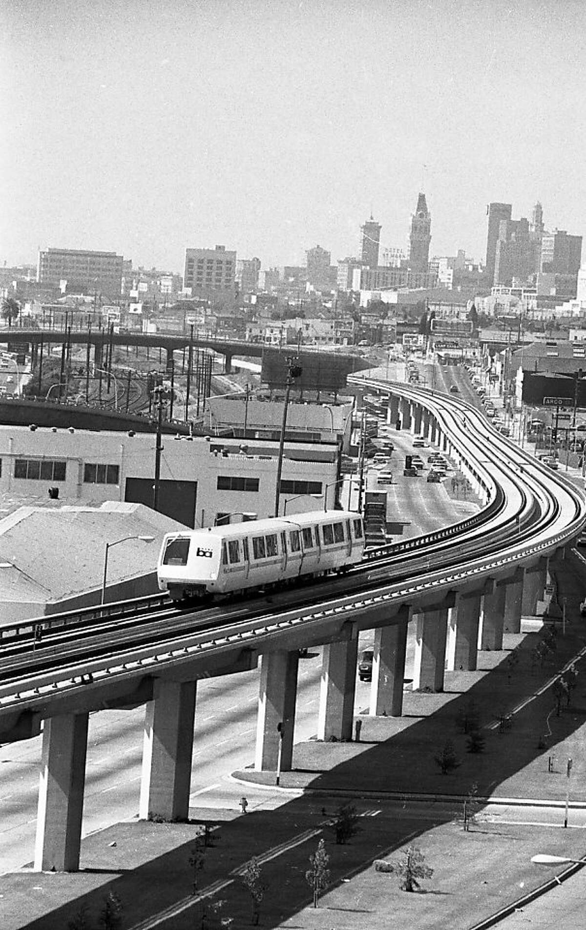 A BART train makes its way from downtown Oakland, Calif., on Monday, September 11, 1972 on the system's first day. BART, the transit system that covers most of the Bay Area is 40-years-old this year.