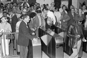 Patrons enter one of the new Oakland BART stations in Oakland, Calif., on Monday, September 11, 1972.  BART, the transit system that covers most of the Bay Area is 40-years-old this year.
