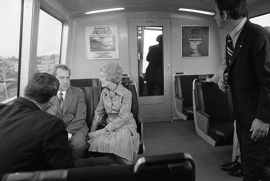President Richard Nixon and his wife, Pat, ride BART during a November 1972 visit. Photo: Larry Tiscornia, The Chronicle
