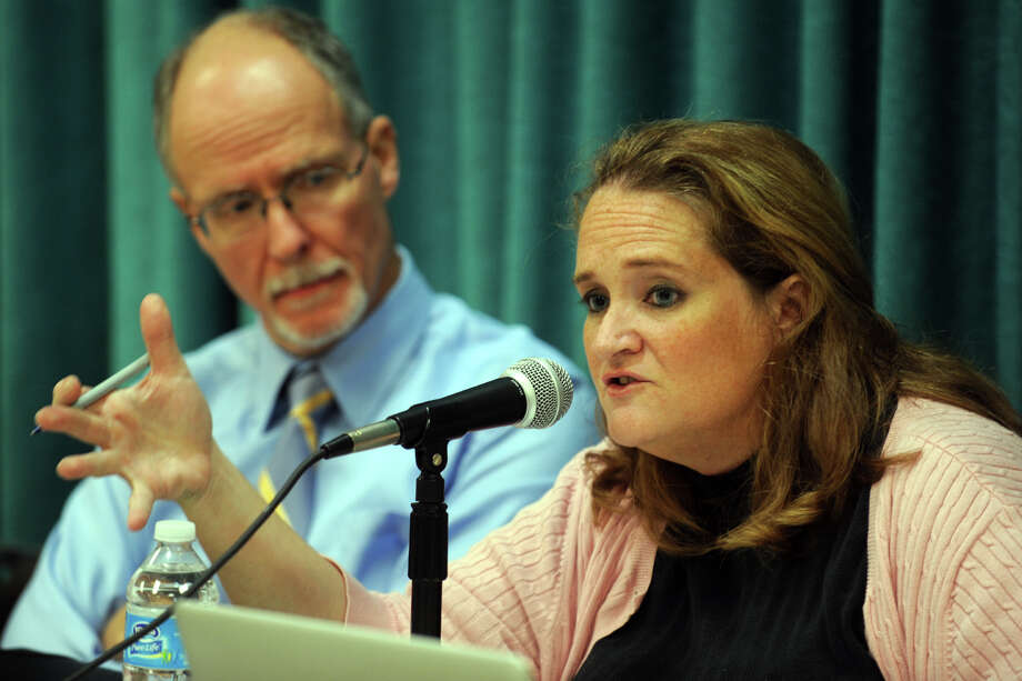 Jacqueline Kelleher, newly elected Bridgeport Board of Education President, speaks during the board's first meeting at the Vocational Aquaculture School, in Bridgeport, Conn., Sept. 10th, 2012. Kelleher is seen here with Supt. of Schools Paul Vallas. Photo: Ned Gerard / Connecticut Post