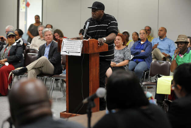 Clyde Nicholson speaks in front of the the Bridgeport Board of Education during the newly elected board's first meeting at the Vocational Aquaculture School, in Bridgeport, Conn., Sept. 10th, 2012. Photo: Ned Gerard / Connecticut Post