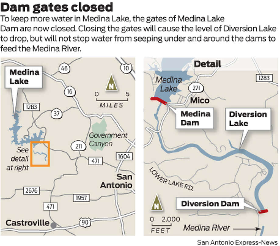 To keep more water in Medina Lake, the gates of Medina Lake Dam are now closed. Closing the gates will cause the level of Diversion Lake to drop, but will not stop water from seeping under and around the dams to feed the Medina River. Photo: Mike Fisher