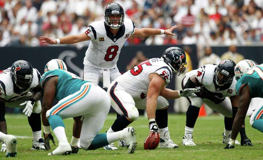 Quarterback Matt Schaub, 31, is in his ninth NFL season and sixth with the Texans. Schaub has been injury-prone, but the Texans think enough of him to have signed him to a four-year contract extension that keeps him with the team through  2016. Photo: Brett Coomer / © 2012  Houston Chronicle