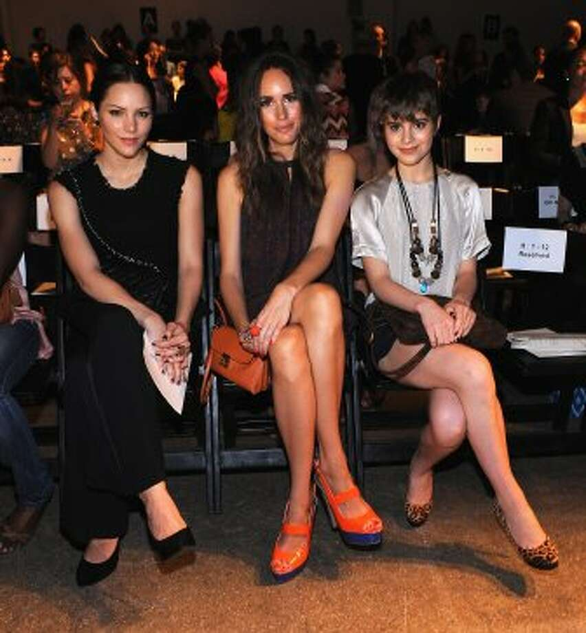 (L-R) Katharine McPhee, Louise Roe and Sami Gayle attend the Rebecca Taylor Spring 2013 show during Mercedes-Benz Fashion Week. (Fernando Leon / Getty Images)