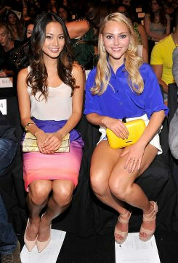Actresses Jamie Chung and AnnaSophia Robb attend the Rebecca Minkoff Spring 2013 show during Mercedes-Benz Fashion Week. (Stephen Lovekin / 2012 Getty Images)