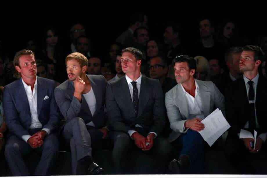 (L-R) New York Rangers Brad Richards, Kellan Lutz, Olympic medalist swimmer Ryan Lochte, and actors Frank Grillo and Daniel Gillies attend the Joseph Abboud spring 2013 show during Mercedes-Benz Fashion Week. (Charles Eshelman)