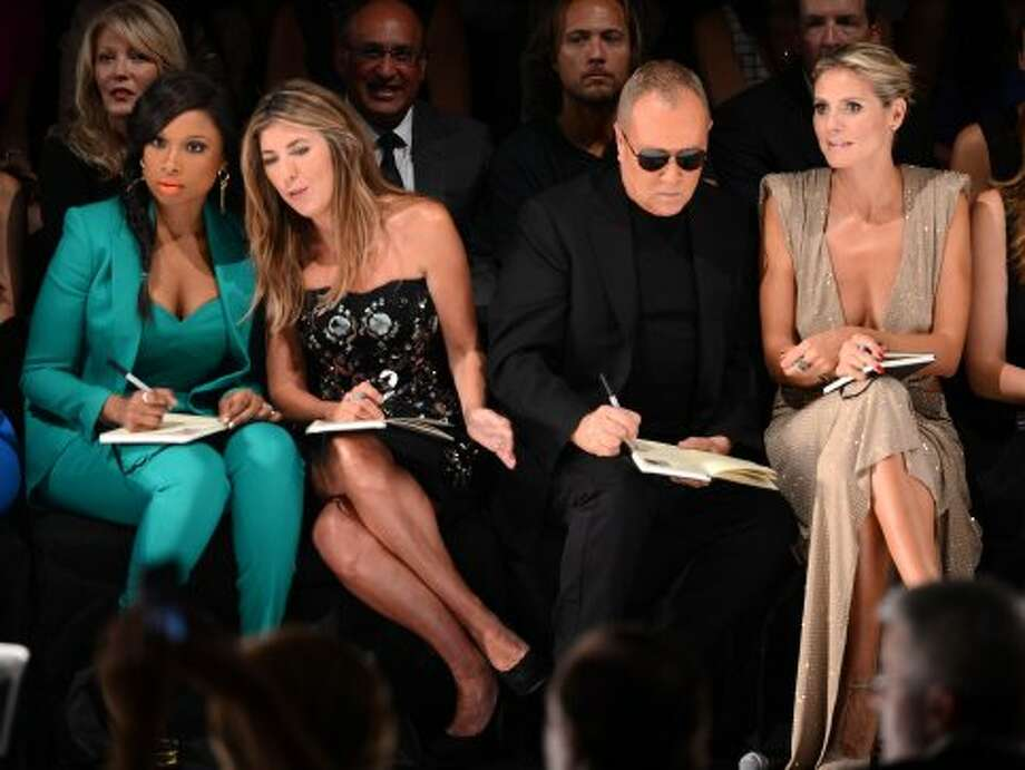 (L-R) Singer Jennifer Hudson, Nina Garcia, designer Michael Kors and model Heidi Klum attend the Project Runway Spring 2013 show during Mercedes-Benz Fashion Week. (Stephen Lovekin / 2012 Getty Images)