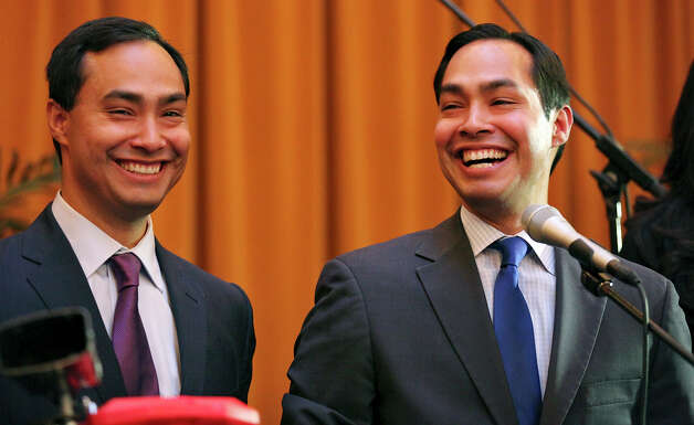 Congressional candidate Joaquin Castro (left) and his twin brother Mayor Julian Castro speak at a welcome home and birthday party celebration held Monday Sept. 10, 2012 at Sunset Station. The twins will be 38-years-old on Sept. 16. Photo: Edward A. Ornelas, San Antonio Express-News / © 2012 San Antonio Express-News