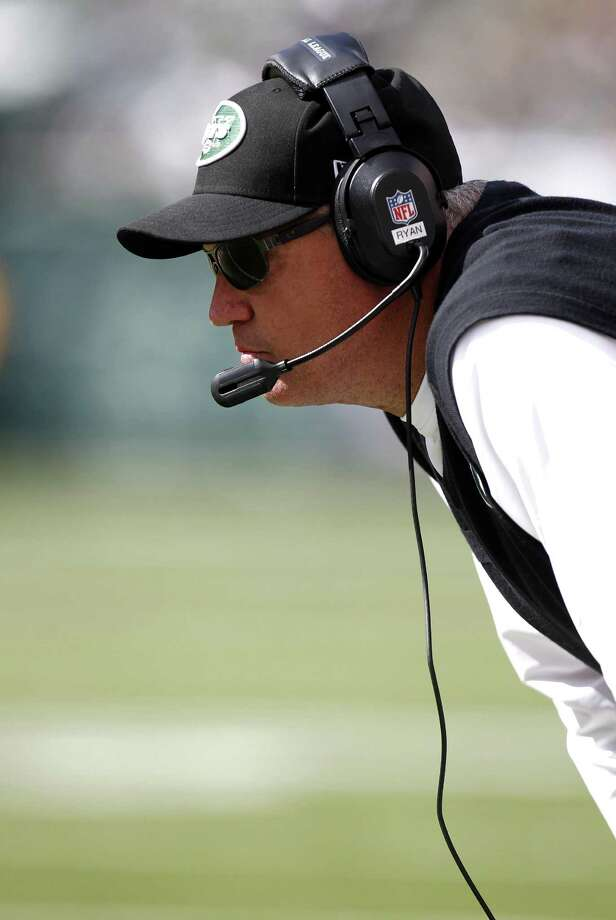EAST RUTHERFORD, NJ - SEPTEMBER 09:  Head coach Rex Ryan of the New York Jets works on the sidelines during their season opener against the Buffalo Bills at MetLife Stadium on September 9, 2012 in East Rutherford, New Jersey.  (Photo by Jeff Zelevansky/Getty Images) Photo: Jeff Zelevansky