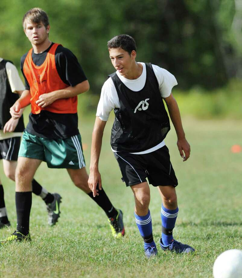 Bethlehem's Ethan Gunty, left, and Ethan Strauss during soccer practice Monday, Sept. 10, 2012 in Delmar, N.Y. (Lori Van Buren / Times Union) Photo: Lori Van Buren
