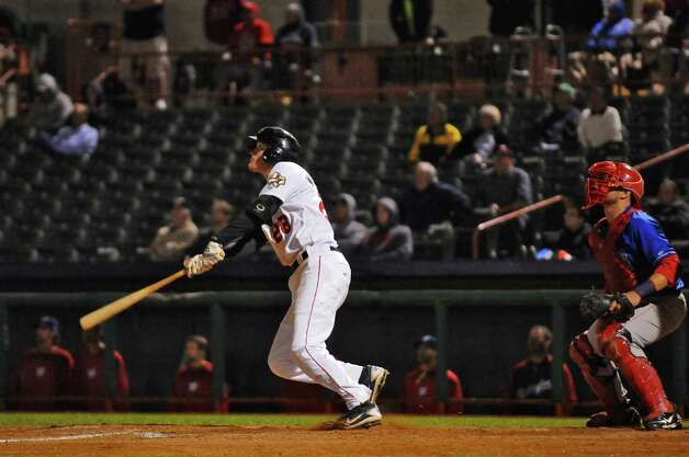 Tri-City Valleycats first baseman Jesse Wierzbicki's hits a bases clearing double in the bottom of the seventh inning to make the score 10-6, during their 16-7 victory over the Auburn Doubledays in the deciding game of their NY-Penn League semifinal playoff series at Joseph Bruno Stadium on Monday night Sept. 10, 2012 in Troy, NY.  They will play Hudson Valley in the final.  (Philip Kamrass / Times Union) Photo: Philip Kamrass / 00019159A